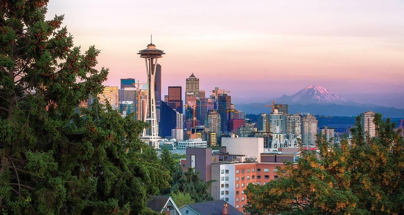 Seattle city skyline during sunrise